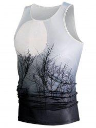 Ombre Plant 3D Moon Print Tank Top - WHITE