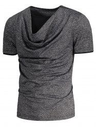 Shoulder Zip Up Design Cowl Neck T-shirt
