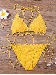 Scalloped Lace Halter String Bikini Set - YELLOW