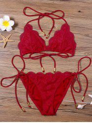 Scalloped Lace Halter String Bikini Set - RED