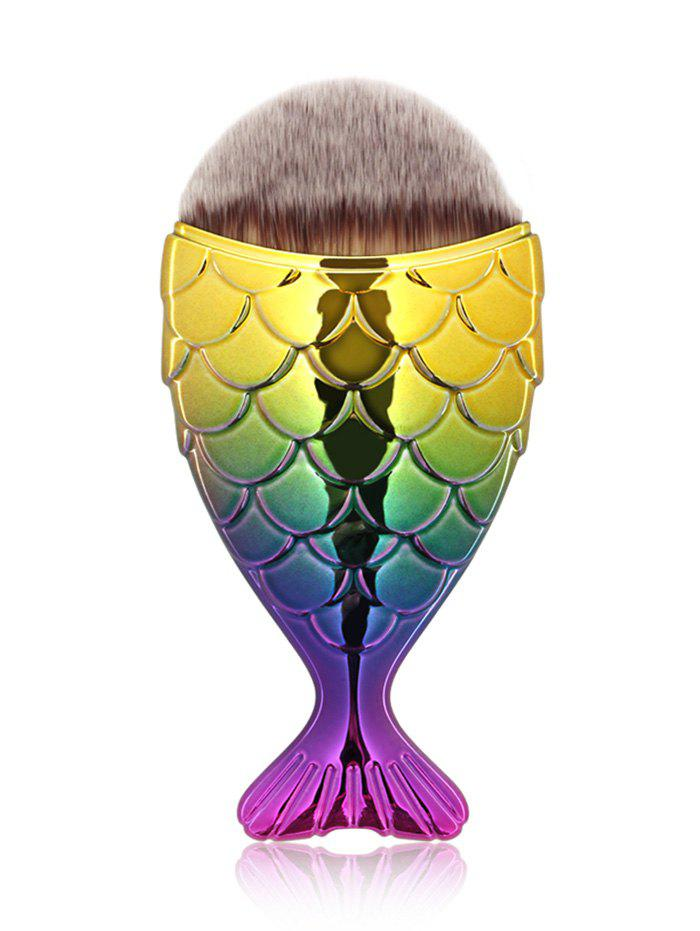 Portable Mermaid Facial Makeup BrushBEAUTY<br><br>Color: YELLOW + PURPLE; Category: Foundation Brush; Brush Hair Material: Synthetic Hair; Features: Travel; Season: Fall,Spring,Summer,Winter; Length: Handle: 9.2CM  Hair: 2.5CM; Weight: 0.0250kg; Package Contents: 1 x Brush;