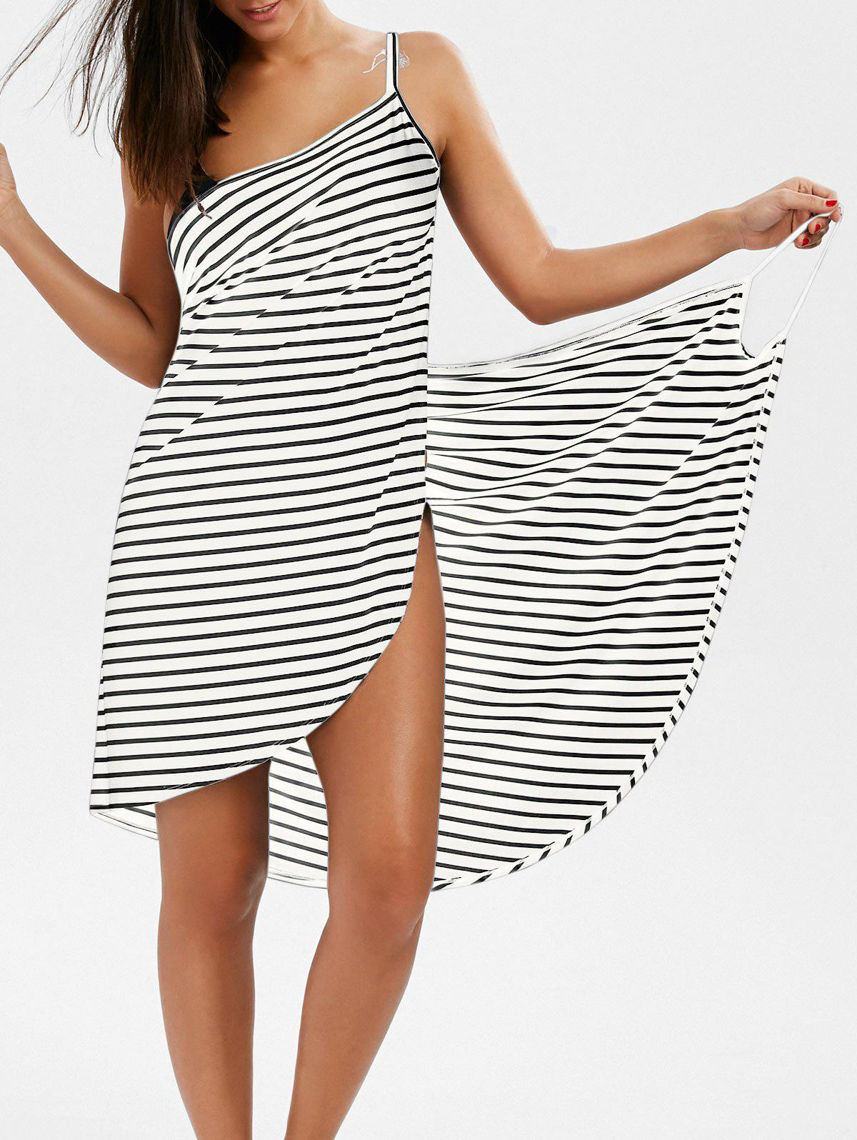 Pinstripe Open Back Cover-ups DressWOMEN<br><br>Size: M; Color: WHITE; Cover-Up Type: Dress; Gender: For Women; Material: Polyester,Spandex; Pattern Type: Striped; Weight: 0.2400kg; Package Contents: 1 x Cover-ups Dress;