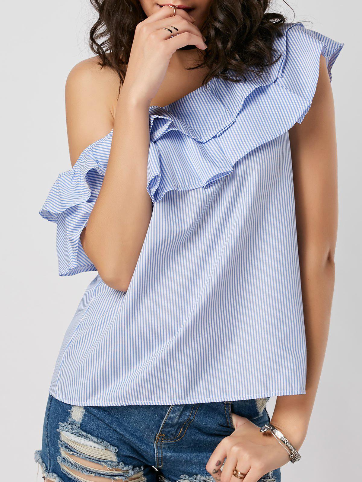 Latest Layer Flounce Striped Skew Collar Blouse