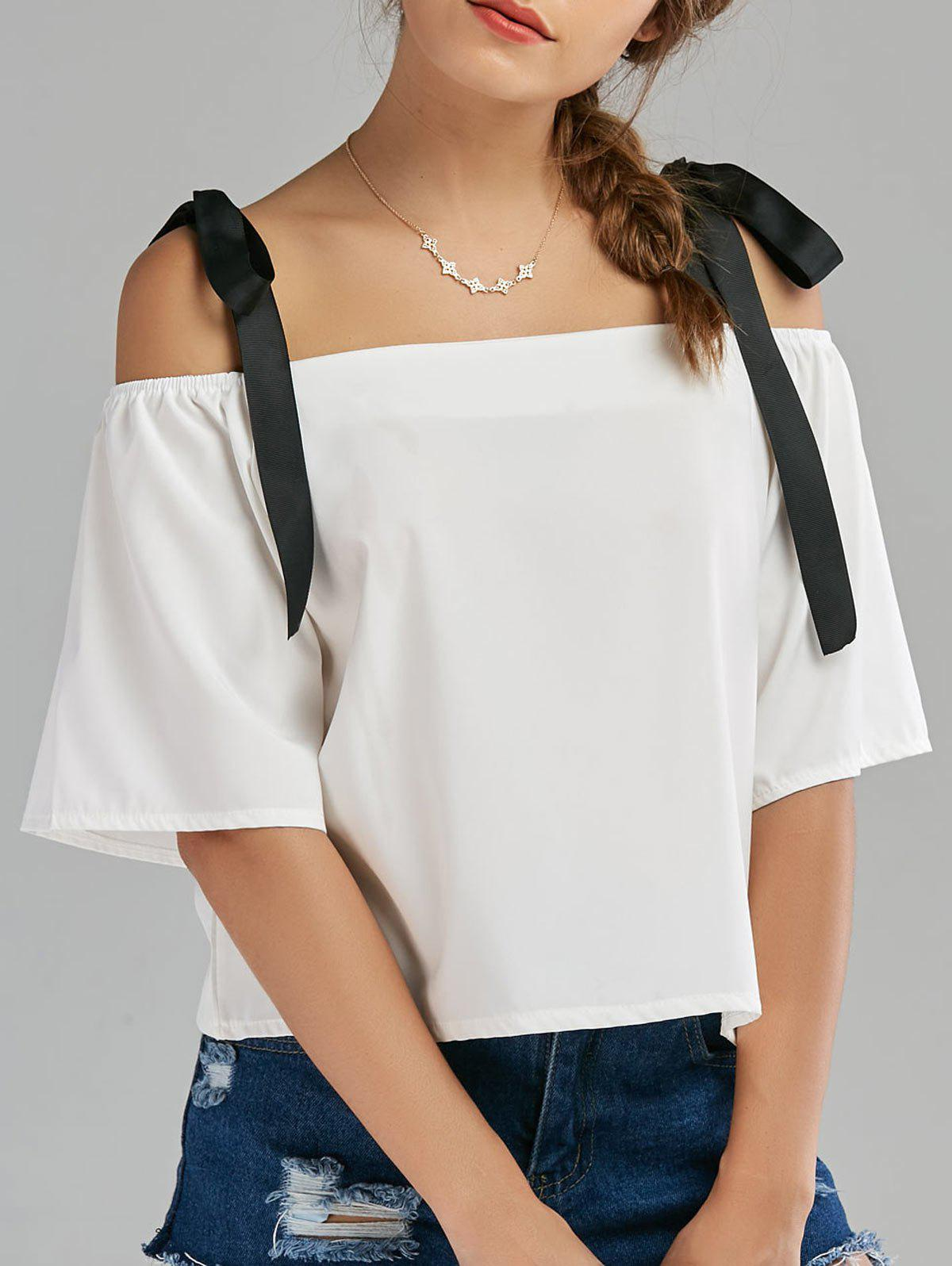 Shop Bowknot Chiffon Cold Shoulder Top