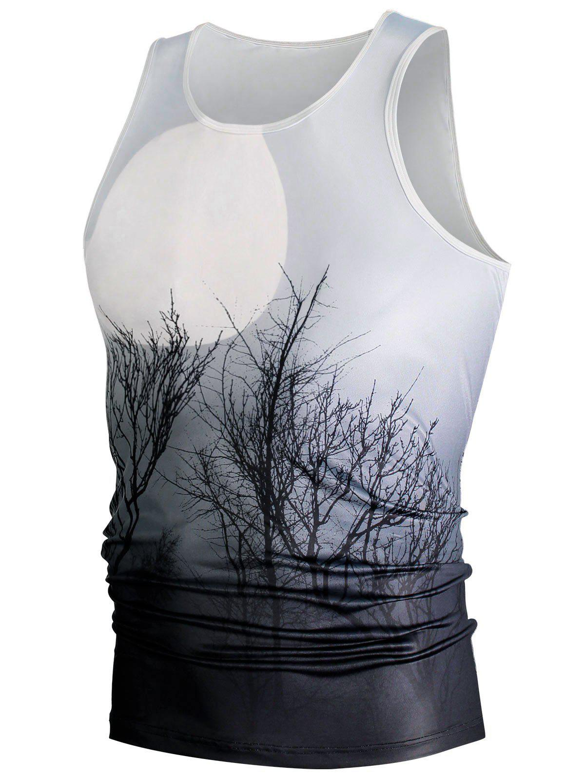 Fashion Ombre Plant 3D Moon Print Tank Top