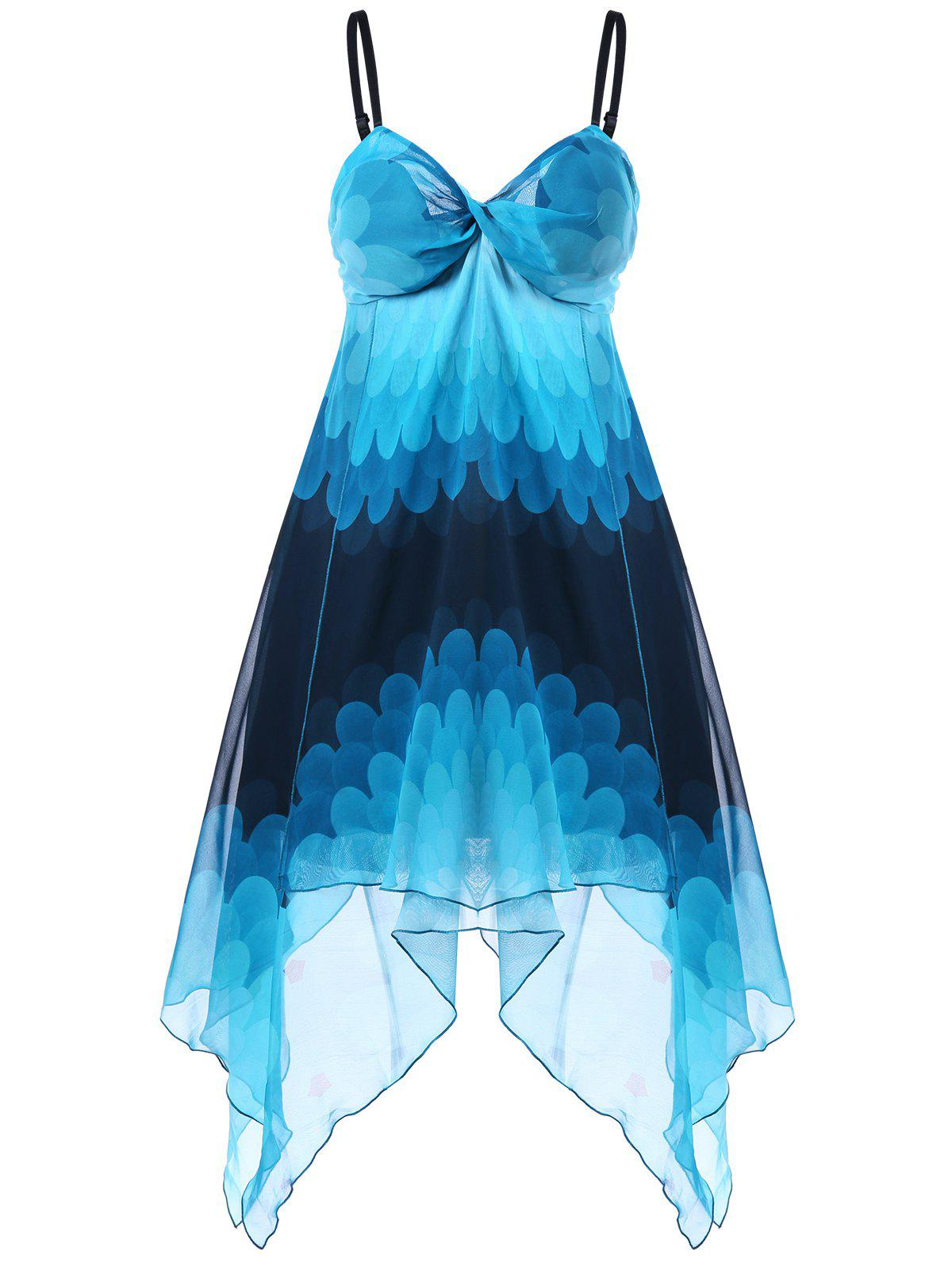 Empire Waist Ombre Handkerchief DressWOMEN<br><br>Size: L; Color: BLUE; Style: Bohemian; Material: Polyester; Silhouette: Asymmetrical; Dresses Length: Knee-Length; Neckline: Spaghetti Strap; Sleeve Length: Sleeveless; Pattern Type: Others; With Belt: No; Season: Summer; Weight: 0.3000kg; Package Contents: 1 x Dress;