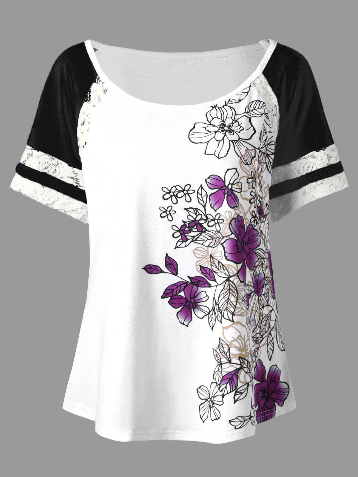 Floral Print Plus Size Scoop Casual T-shirtWOMEN<br><br>Size: 3XL; Color: PURPLE; Material: Polyester,Spandex; Shirt Length: Regular; Sleeve Length: Short; Collar: Scoop Neck; Style: Casual; Season: Summer; Pattern Type: Floral; Weight: 0.3700kg; Package Contents: 1 x T-shirt;
