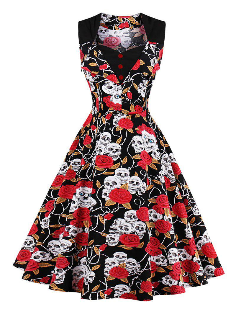 Skull Print Vintage Skater DressWOMEN<br><br>Size: 2XL; Color: RED; Style: Vintage; Material: Cotton,Spandex; Silhouette: A-Line; Dress Type: Fit and Flare Dress,Swing Dress; Dresses Length: Knee-Length; Neckline: Sweetheart Neck; Sleeve Length: Sleeveless; Embellishment: Button; Pattern Type: Floral,Skull; With Belt: No; Season: Fall,Spring,Summer; Weight: 0.4500kg; Package Contents: 1 x Dress;