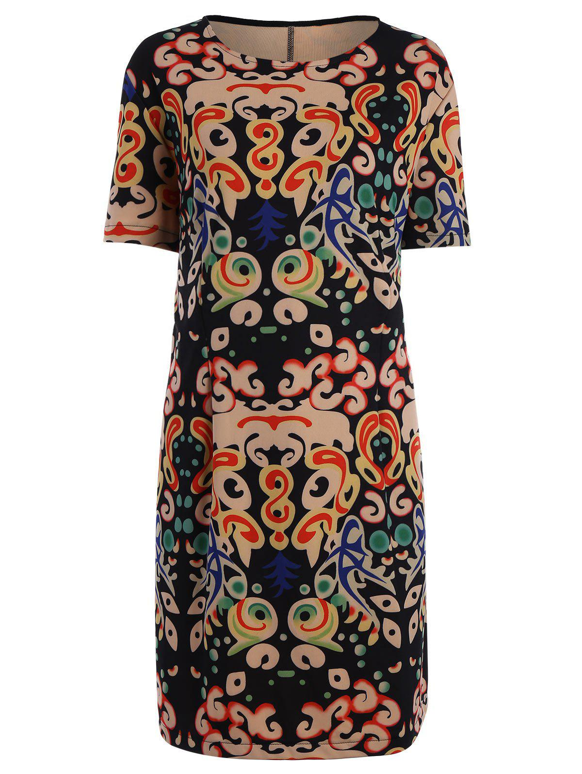 Latest Plus Size Funny Printed Knee Length T-shirt Dress