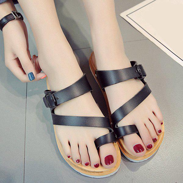 Chic Buckle Strap Toe Ring Slippers