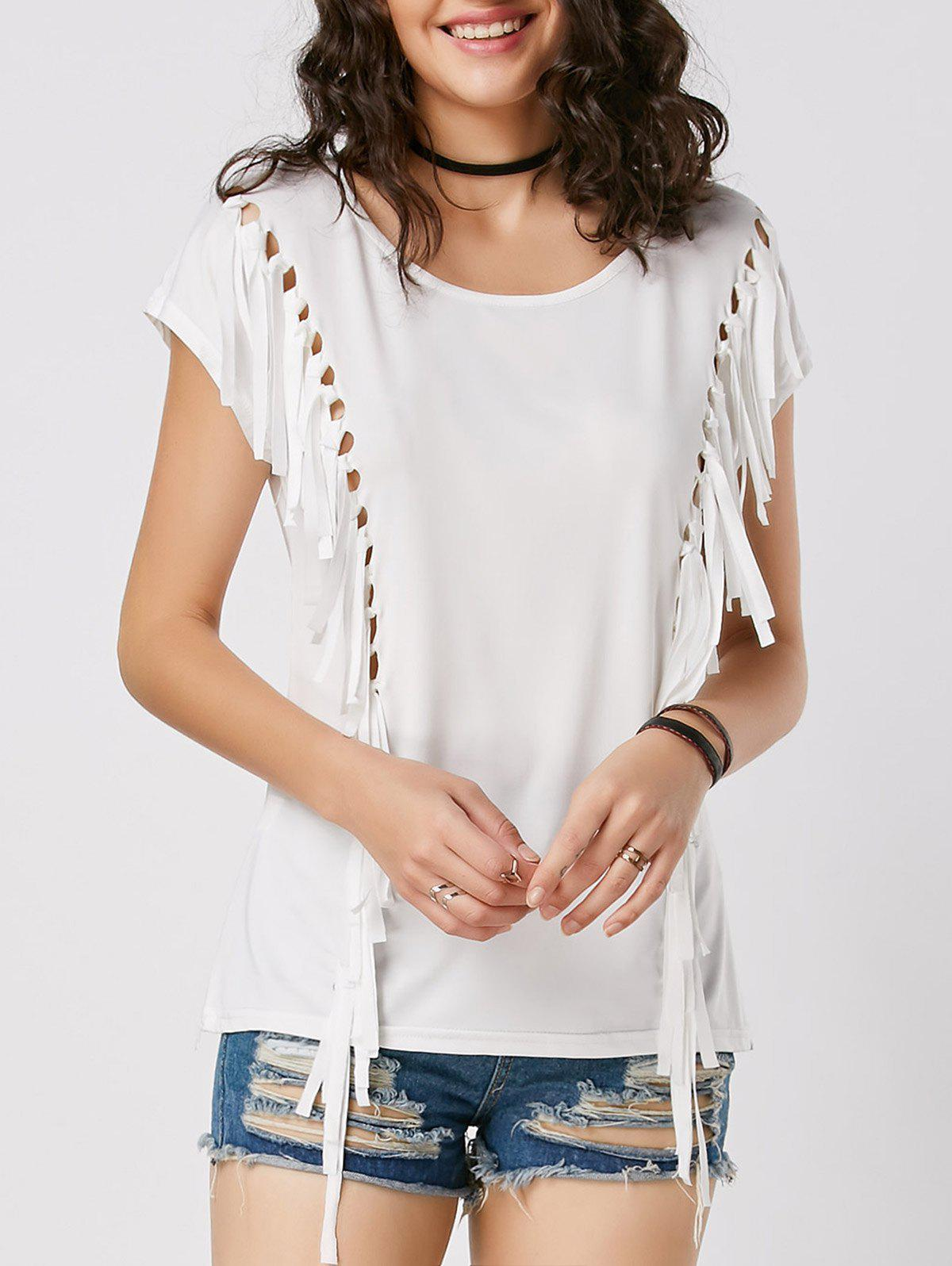 Outfit Mesh Cut Out Fringe Tunic T Shirt