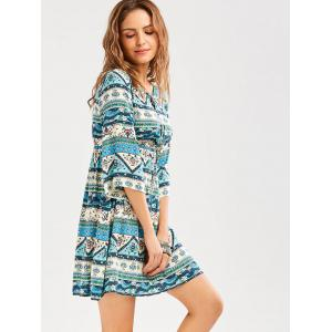 Geometric Floral Print Empire Waist Casual Dress -