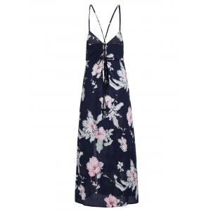 Criss Cross High Split Floral Maxi Dress - Bleu Violet S
