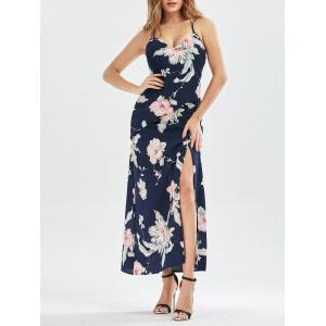 Criss Cross High Split Floral Maxi Dress - Purplish Blue - Xl