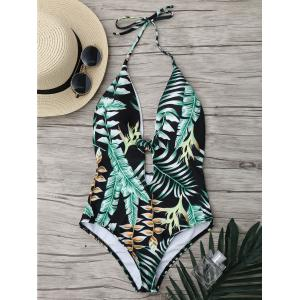 Tropical Jungle Print Backless One Piece Swimsuit