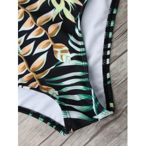 Tropical Jungle Print Backless One Piece Swimsuit - GREEN L