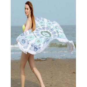 Fringe Round Beach Towel with Flower Print