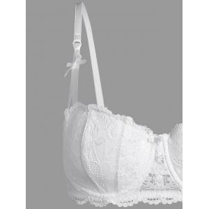 Plus Size Underwire Padded Lace Bra Set - WHITE 3XL