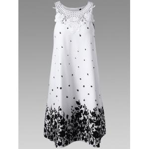 Casual Lace Panel Racerback Floral Tent Dress - White And Black - 2xl