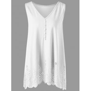Single Breasted Openwork Plus Size Scalloped Tank Top - White - 3xl