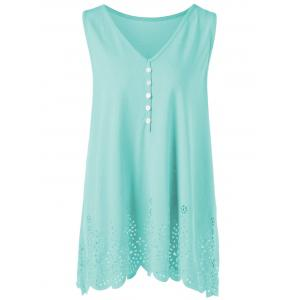 Single Breasted Openwork Plus Size Scalloped Tank Top