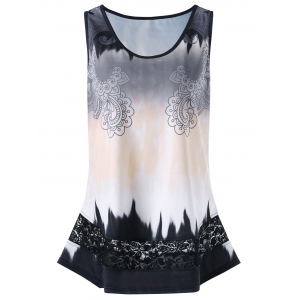 Plus Size Paisley Lace Insert Tank Top