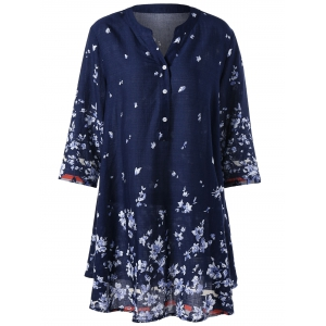 Bohemian Plus Size Tiny Floral Tunic Blouse - Purplish Blue - 5xl