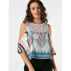 Lace Insert Printed Cold Shoulder Tank Top -