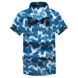 Short Sleeve Seagull Print Hawaiian Shirt
