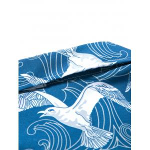 Short Sleeve Seagull Print Hawaiian Shirt - BLUE 3XL