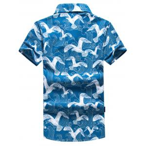 Short Sleeve Seagull Print Hawaiian Shirt - BLUE 4XL