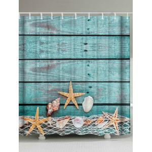 Starfish Shell Extra Long Bathroom Shower Curtain - Lake Blue - W59 Inch * L71 Inch
