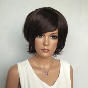 Shaggy Short Side Bang Silky Straight Synthetic Wig