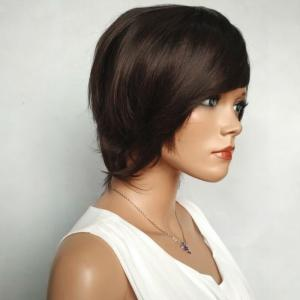 Shaggy Short Side Bang Silky Straight Synthetic Wig - RED MIXED BLACK