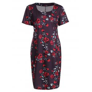 Plus Size Floral Midi Vintage Sheath Short Sleeve Dress - Jacinth - 3xl