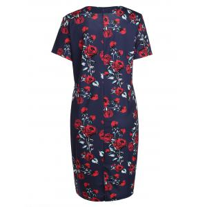 Plus Size Rose Floral Midi Sheath Pencil Dress - PURPLISH BLUE 5XL