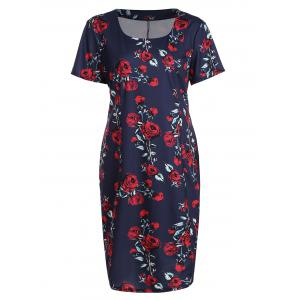 Plus Size Floral Midi Vintage Sheath Short Sleeve Dress - Purplish Blue - 4xl