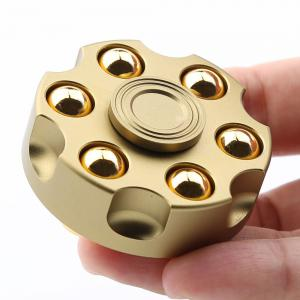 7 Mins Rotating Revolver Shape Fidget Metal Spinner Fiddle Toy - Golden - 2.3*2.3*2.3cm