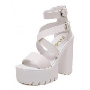 Double Buckle Strap Zipper Sandals -
