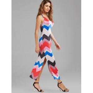 Casual Zig Zag Print Split Maxi Dress - Multicolore S