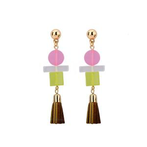 PU Leather Tassel Geometric Resin Earrings