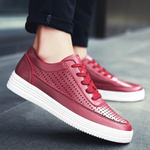 Tie Up Breathable Faux Leather Casual Shoes - Deep Red - 40