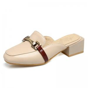 Faux Leather Square Toe Slippers - PALOMINO 37