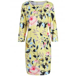 Plus Size Flower Printed Pencil Dress with Pockets