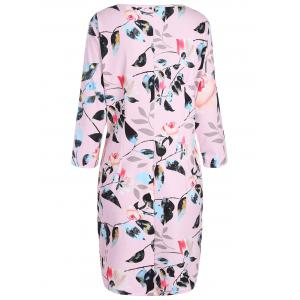 Plus Size Flower Printed Pencil Dress with Pockets - PINK 5XL