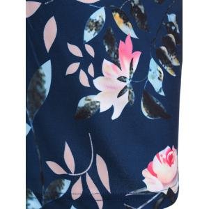 Plus Size Flower Printed Pencil Dress with Pockets -