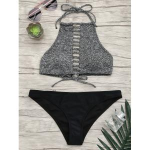 Halter Ladder Cutout Bikini Set