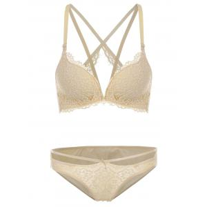 Strappy Lace Push Up Lingerie Bra Set