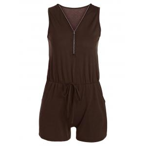 Zipper Design Sleeveless Romper with Pockets