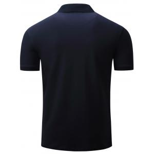 Anchor Embroidered Graphic Print Polo T-shirt - DEEP BLUE M